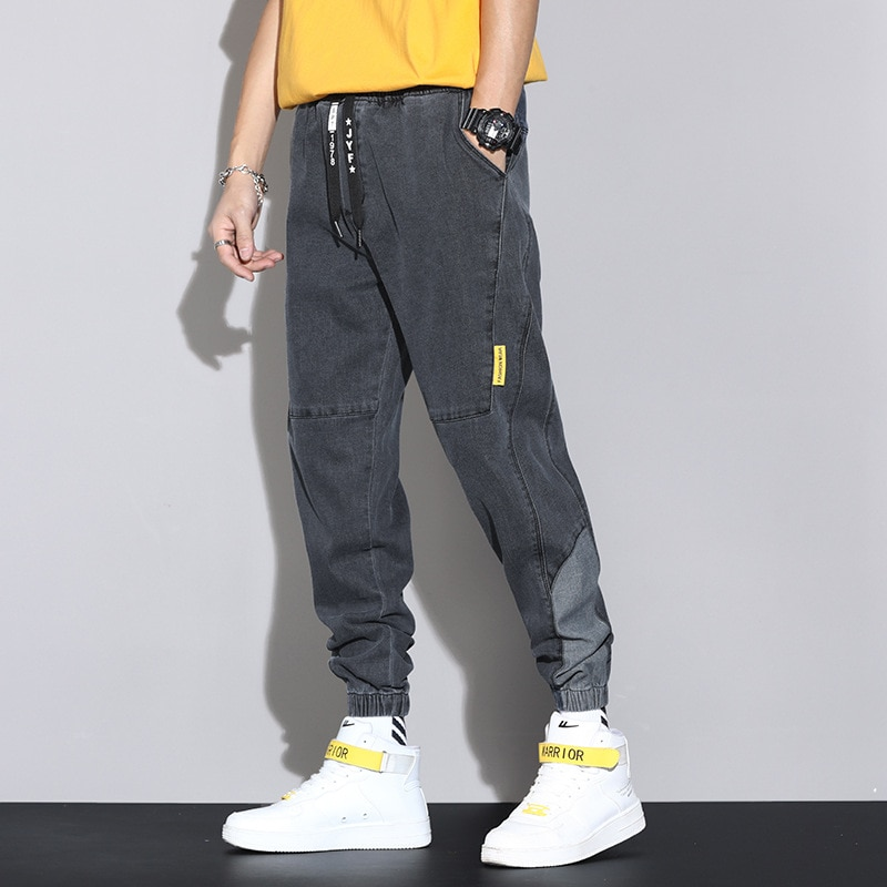Мужские облегающие летние однотонные хлопковые повседневные мешковатые джинсы 2021, мужские джинсовые джоггеры, уличная одежда, джинсы-шаро...