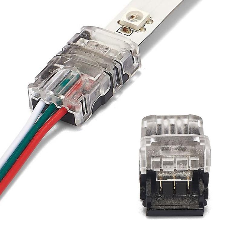 5 uds 3pin 4pin 5pin RGB conector para tira de LED para RGB RGBW RGBWW 2835 3528 tira de LED 5050 encabezado de cable conector de Terminal