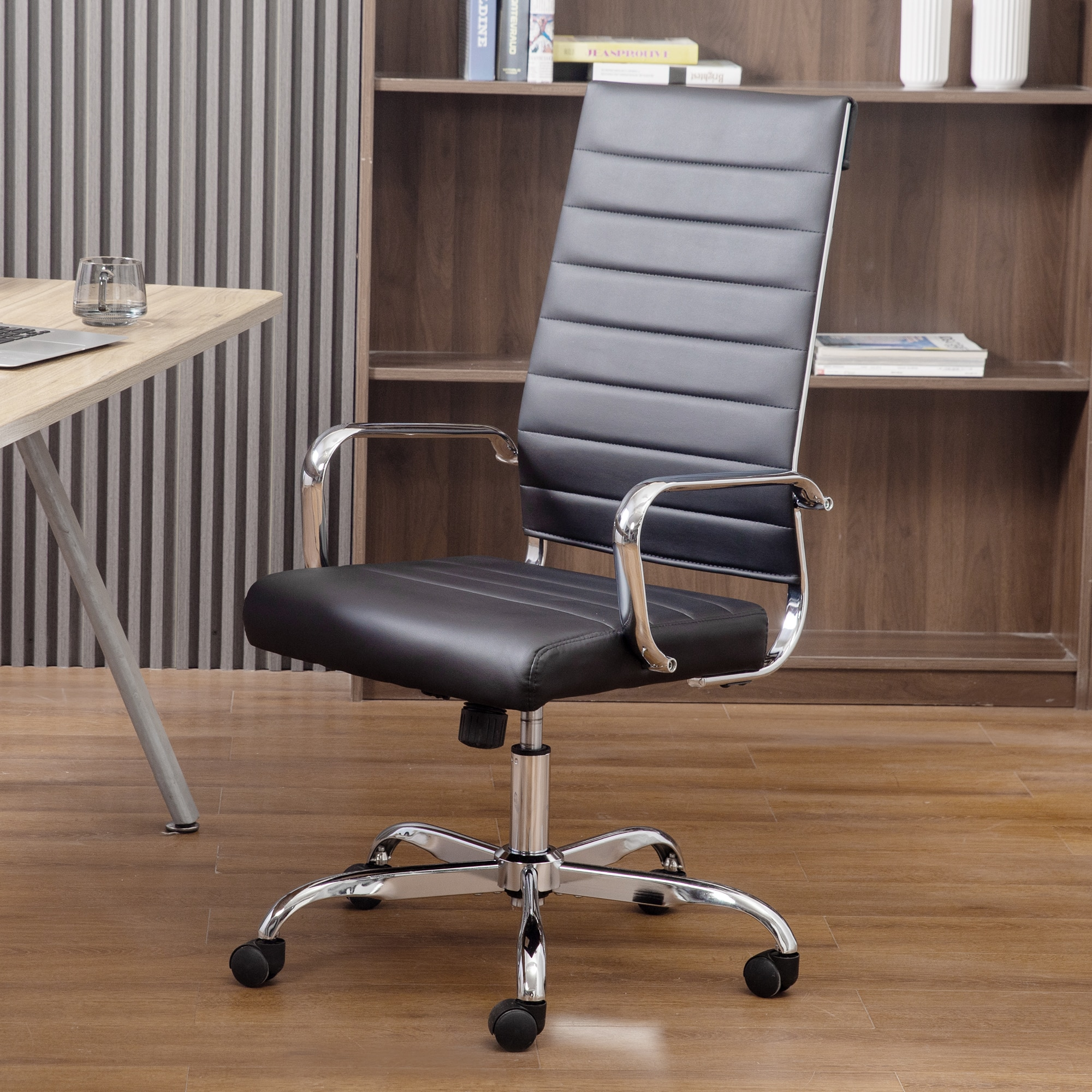 homall ribbed office chair mid back pu leather executive conference desk chair adjustable swivel chair with comfortable arms GOSKEY Ribbed Office Chair High Back PU Leather Executive Conference Chair Adjustable Swivel Chair with Arms