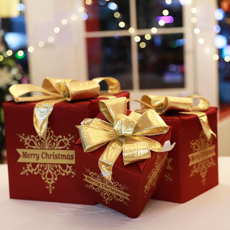 Caja de regalo de tela de adorno navideño, caja de cartón de...