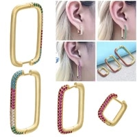 earrings for women large medium small rectangular micro inlaid colored cubic zircom earrings with gold color zirconium ear rings