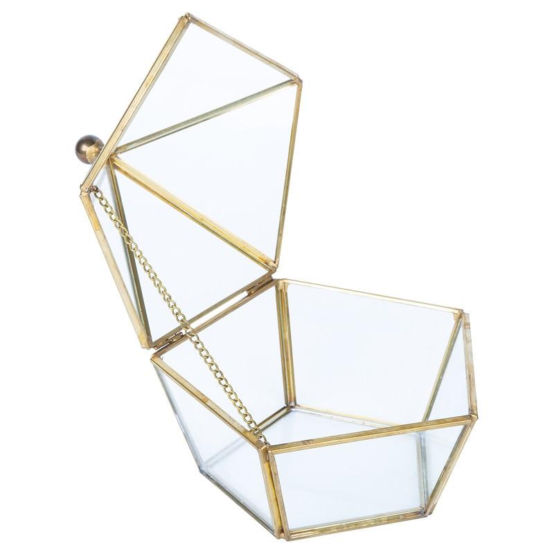 Jewelry Storage Gift Box Wedding Ring Organizer Geometry Glass Flower House Home Decoration Gift Box DIY Jewelry Storage Box