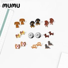 2021 New Dachshund Stud Earring Epoxy Jewelry Resin Cute Dog Acrylic Earrings Handmade Gifts Friends