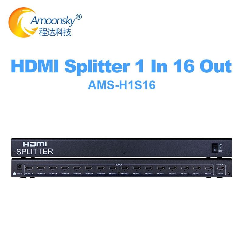Convertidor HDMI divisor de 16 puertos, 1 salida 1x16, HDMI divisor de...