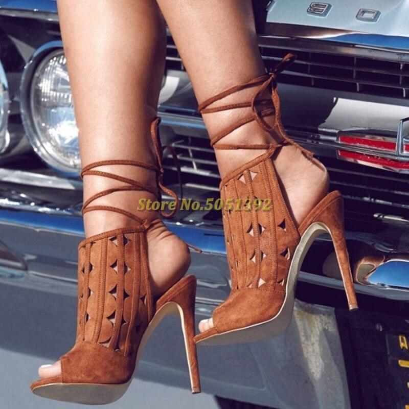 حذاء نسائي بكعب عالٍ ومفتوح من الأمام ، صندل برباط ، كاكي ، مفتوح من الأمام ، بكعب خنجر