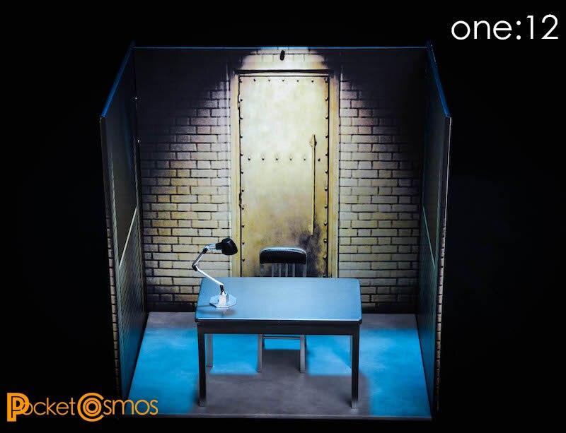 PC006 1/12 الجندي بيت الدمية نموذج غرفة المحاكمة خلفية مركز شرطة السجن المشهد Accessoriesfit