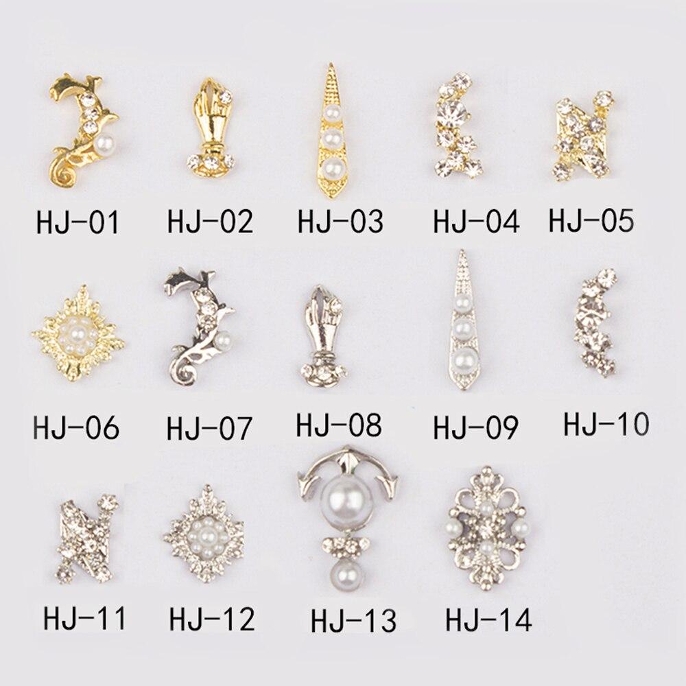 Best selling high-grade metal imitation gem nails rhinestone retro style 10/30pcs nail jewelry accessories