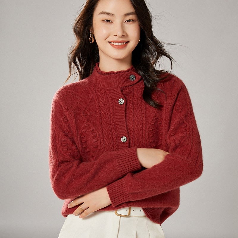 2021 Cardigans for woman summer sweaters knitted jumper High Quality Female knitwear Half high collar cool comfortable enlarge