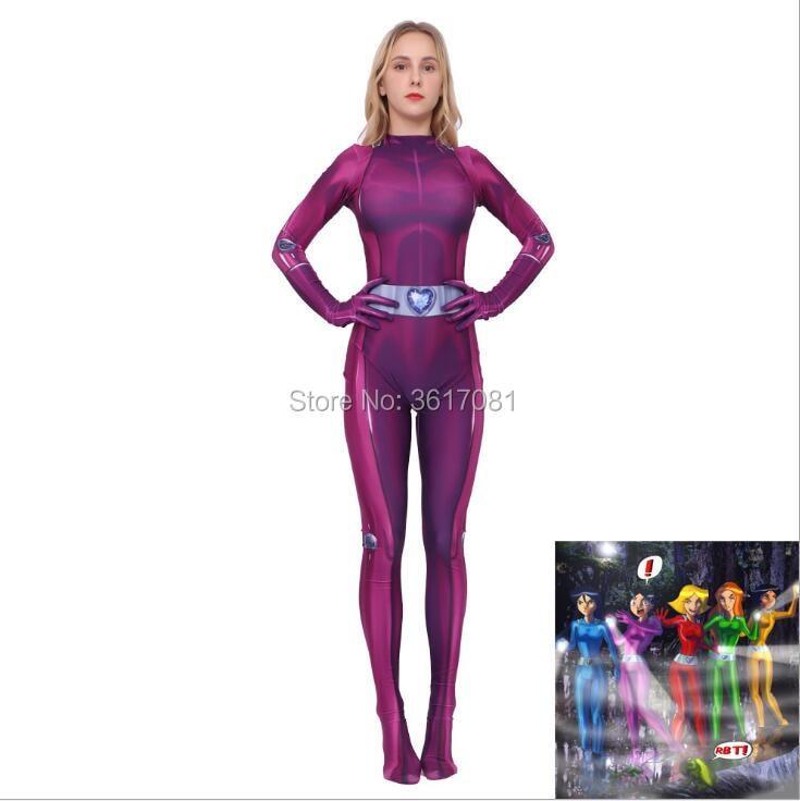 Disfraz de superhéroe de Halloween Totally Spies, mono con leotardos de anime Zentai con estampado digital 3D