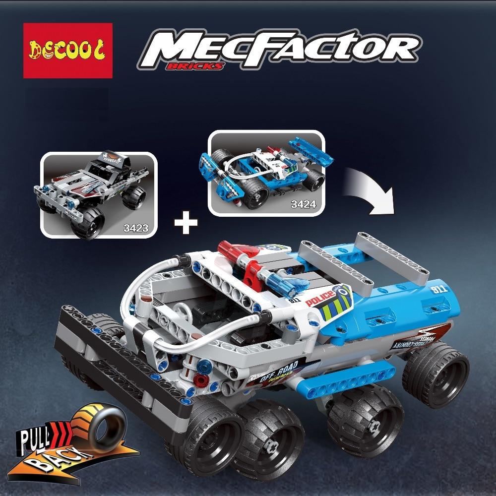 2pcs/lot Technic Getaway Truck and Police Pursuit Building Blocks Kits Bricks Classic Model Kids Toys For Children Gift