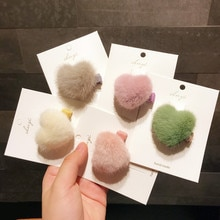 2/3pcs/set Korean Children Girls Hair Accessories Imitation Mink Plush Ornament Hair Clips For Girls Kids Baby Hairpin Barrette