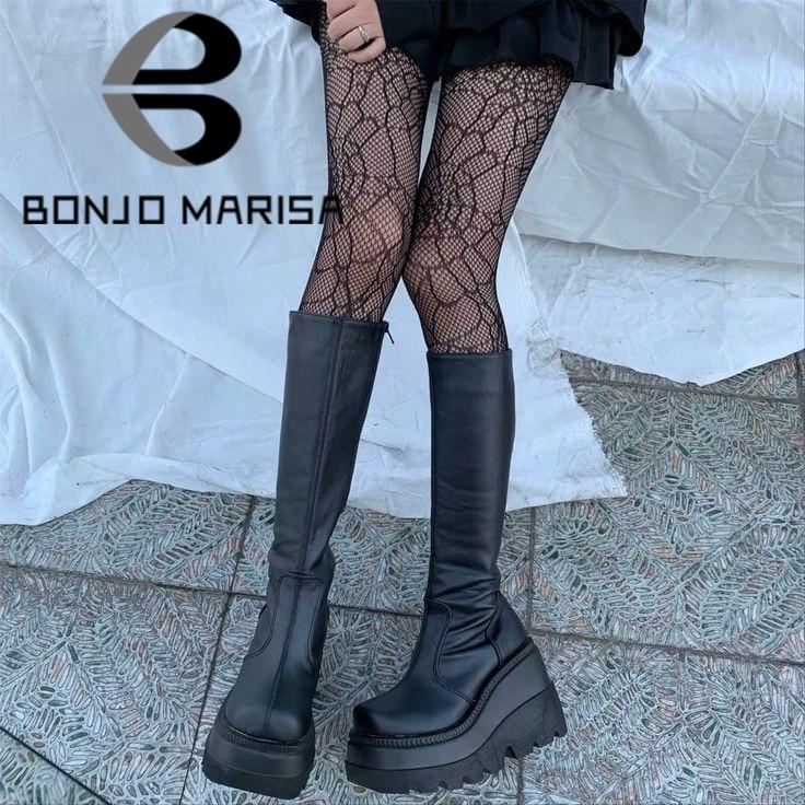 BONJOMARISA السيدات الأحذية منصة الموضة صندل بكعب مكتنز أسافين منتصف العجل النساء الأحذية ماركة غير رسمية سميكة أسفل الشتاء أحذية امرأة