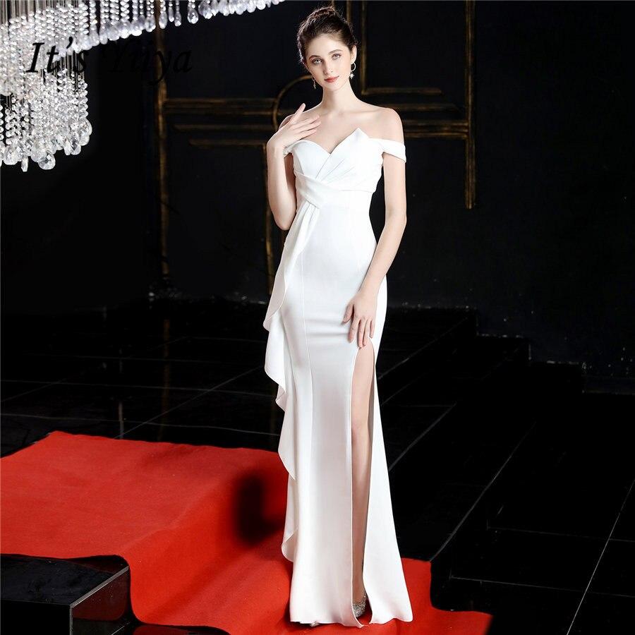فستان سهرة بحورية البحر من It's Yiiya بدون الكتف فساتين رسمية ثوب مسائي طويل DX243 أنيق أبيض مكشكش رداء دي سهرة