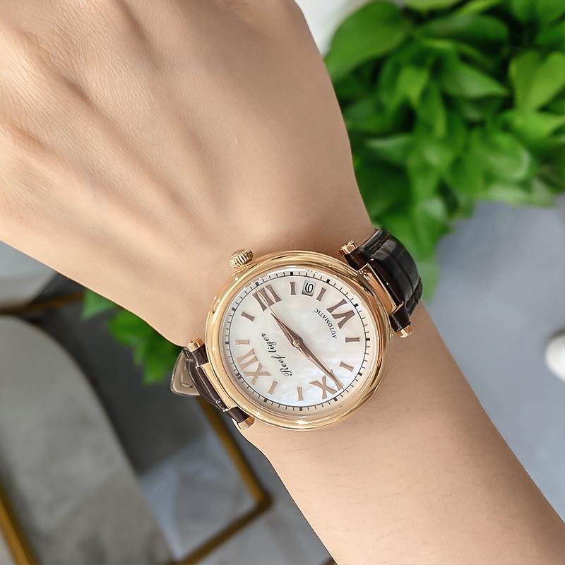 Reef Tiger/RT Luxury Automatic Day Date Watch Waterproof Genuine Leather  Women Watches Relogio Feminino Gift RGA1595 enlarge