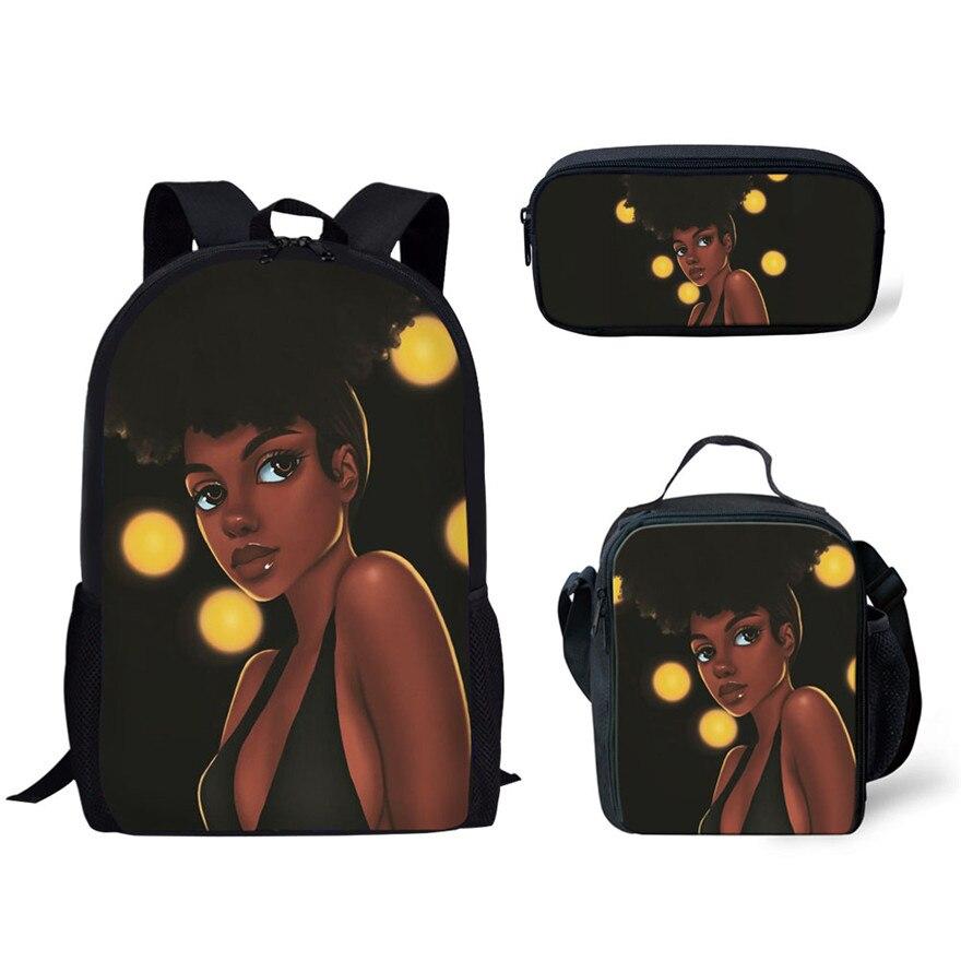 3pcs/set School Bags for Kids Bag Black Art African Girls Print Schoolbag Teenagers Primary Book Bag Mochila Escolar