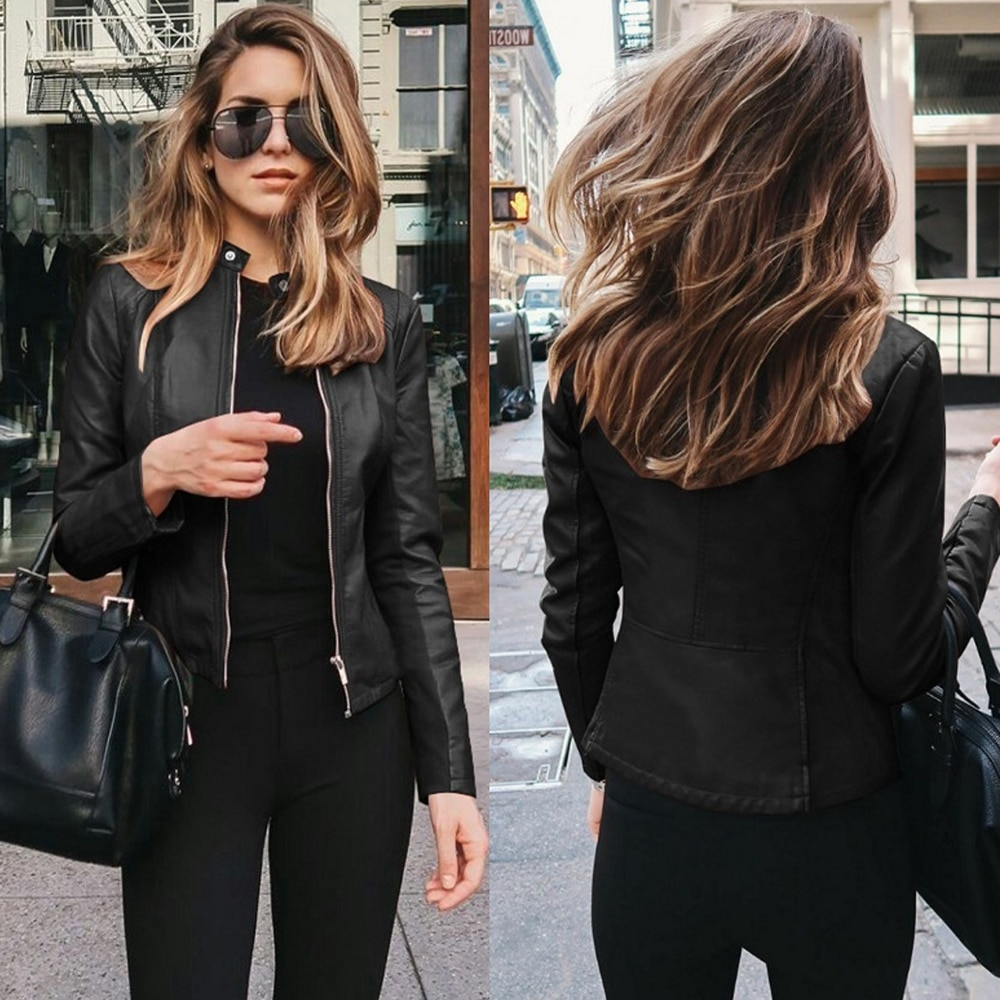 Autumn PU Leather Streetwear Jacket Coat Women Women's Clothing Solid Top Long Sleeve Casual Coat Female Fashion Jacket Coat male streetwear fashion hiphop leather jacket pu leather splice pattern baseball coat singer dancer cool men stage show clothing