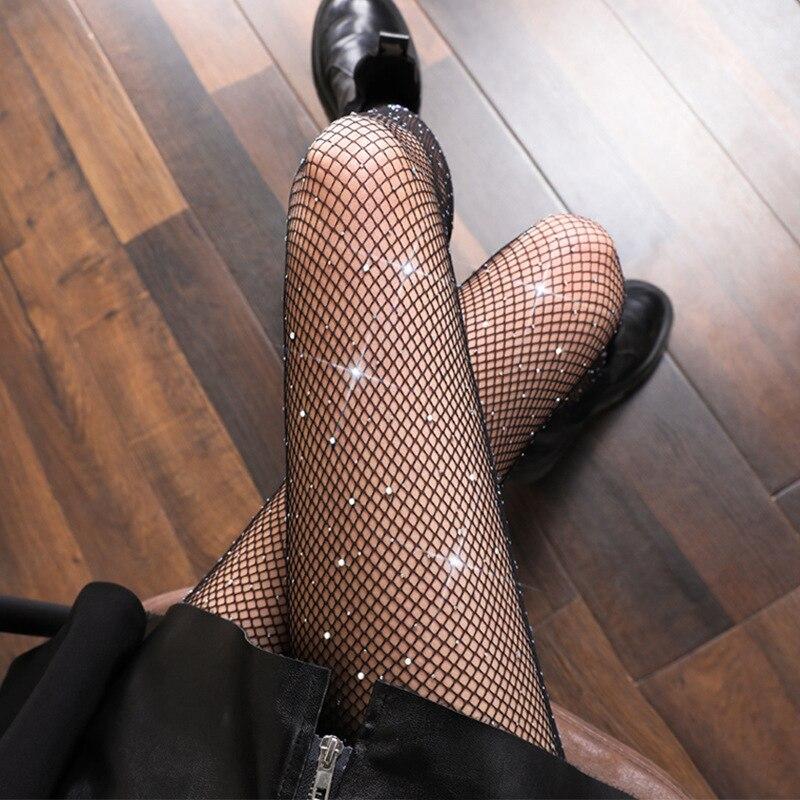Shinning Rinestones Fishnet Pantyhose Black White Color Sexy Hot Drill Sparkling Tights Womens Net Fashion Thin Stockings
