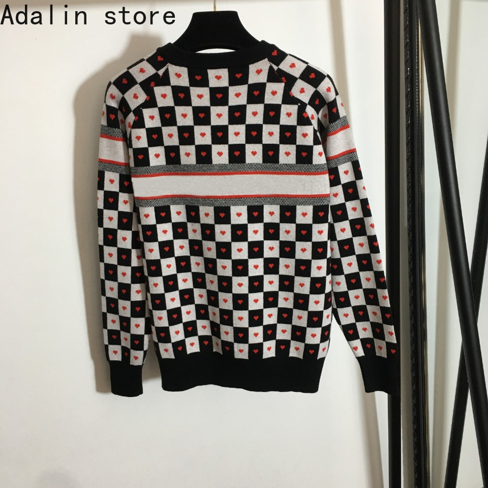 high quality autumn and winter fashion women's letter printing love black and white plaid Pullover long sleeve knitted sweater enlarge