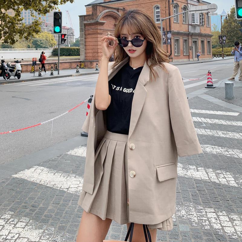 2 Piece Set Women Blazer Suits Single Breasted Jacket Coat + Pleated Skirt Suits Office Lady Jacket High Waist Skirt Set Q2510
