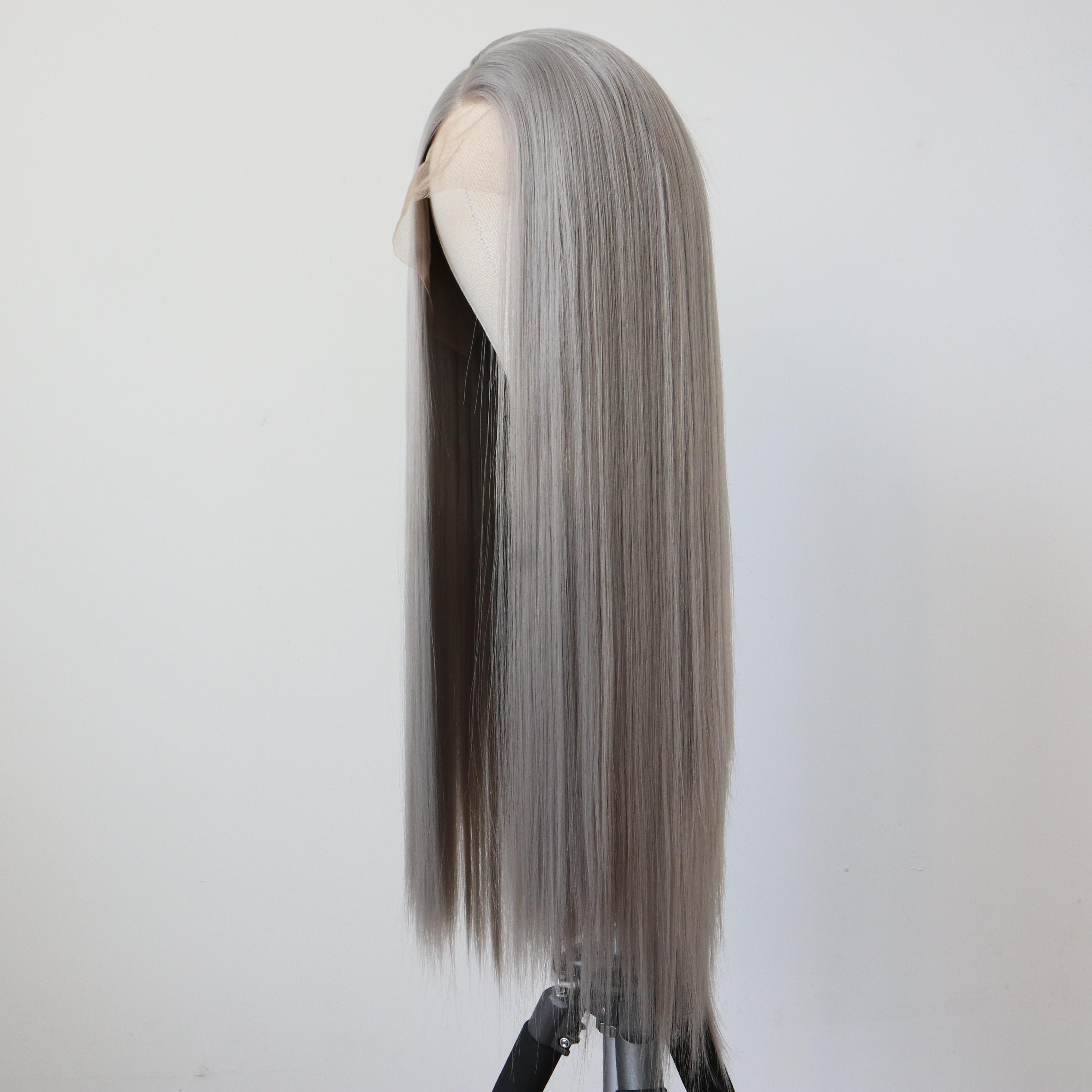 بيروكات صناعية رمادية للنساء شعر ألياف مقاومة للحرارة شعر رمادي طويل شعر مستعار الاصطناعية الدانتيل شعر مستعار أمامي