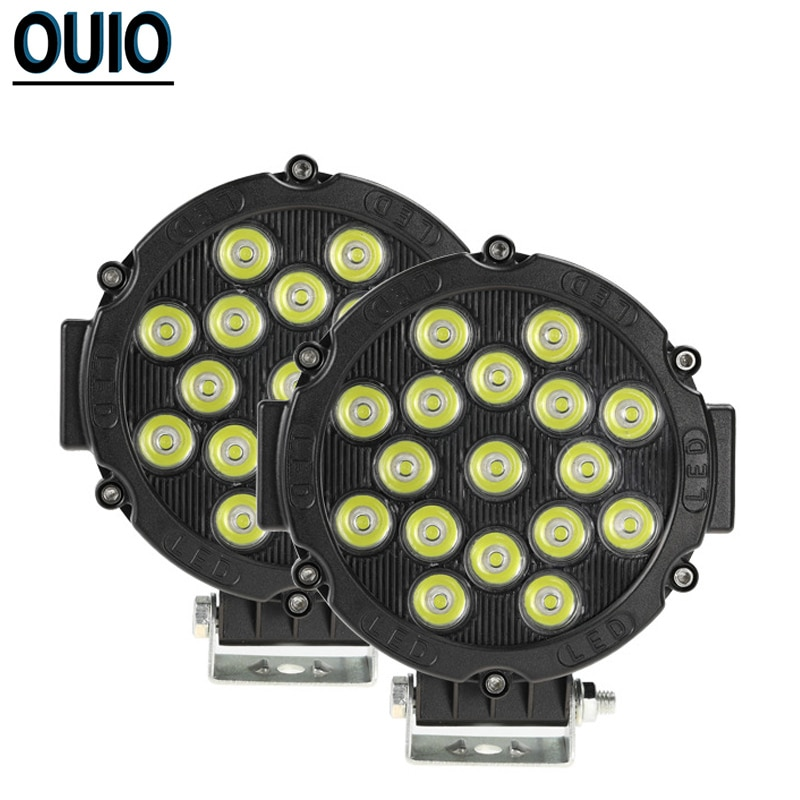 Luz de trabajo redonda, 17 LED, 51W, barra de luz para coche 4x4, camión, todoterreno, luz 12V, Tractor, barco, ATV, faro delantero, lámpara de foco, barra Led