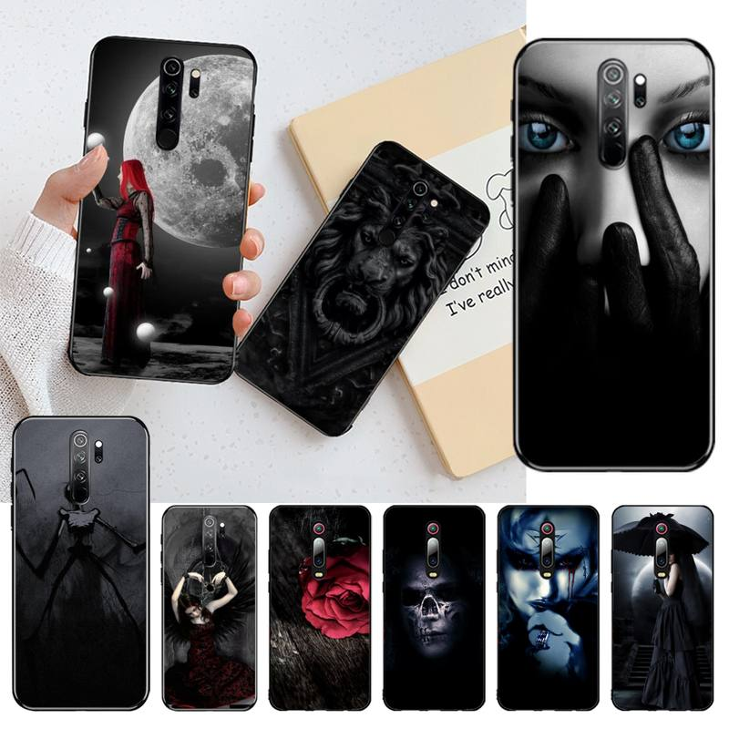 Cutewanan gothic escuro papel de parede preto casca macia capa do telefone para redmi nota 8 8a 7 6 6a 5 5a 4 4x 4a go pro plus prime