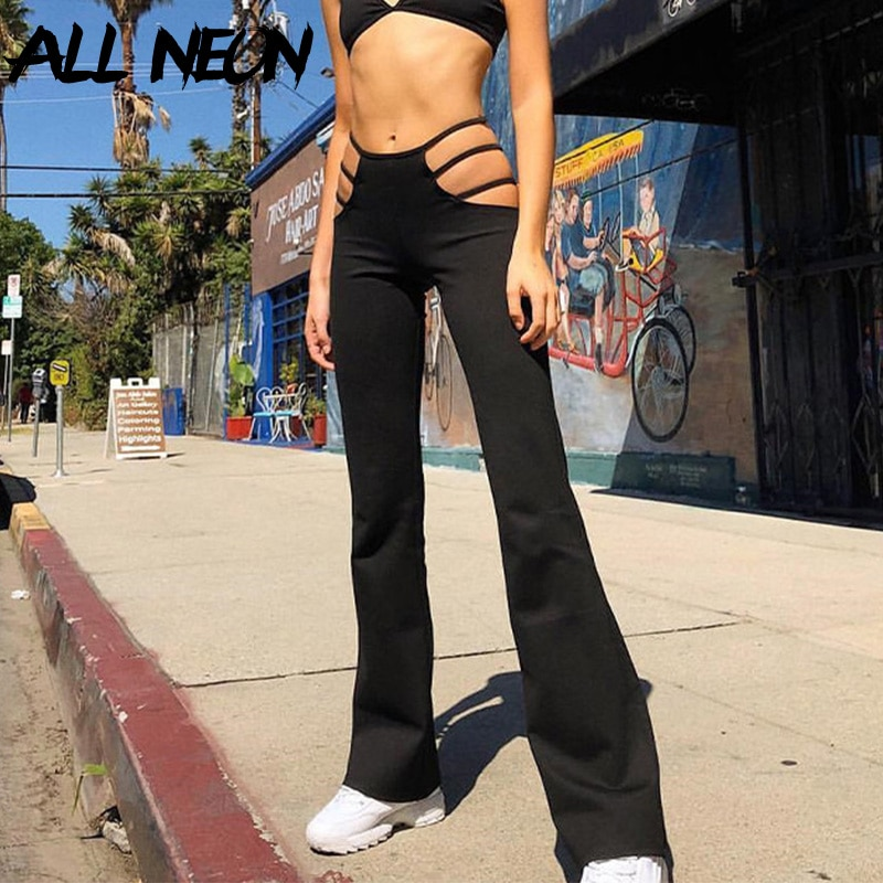 ALLNeon Y2K Streetwear Hollow Out High Waist Flare Pants 2000s Aesthetics Black Cut Out Trousers Vintage Slim Bottoms Fashion retro cut out plaid fit and flare dress