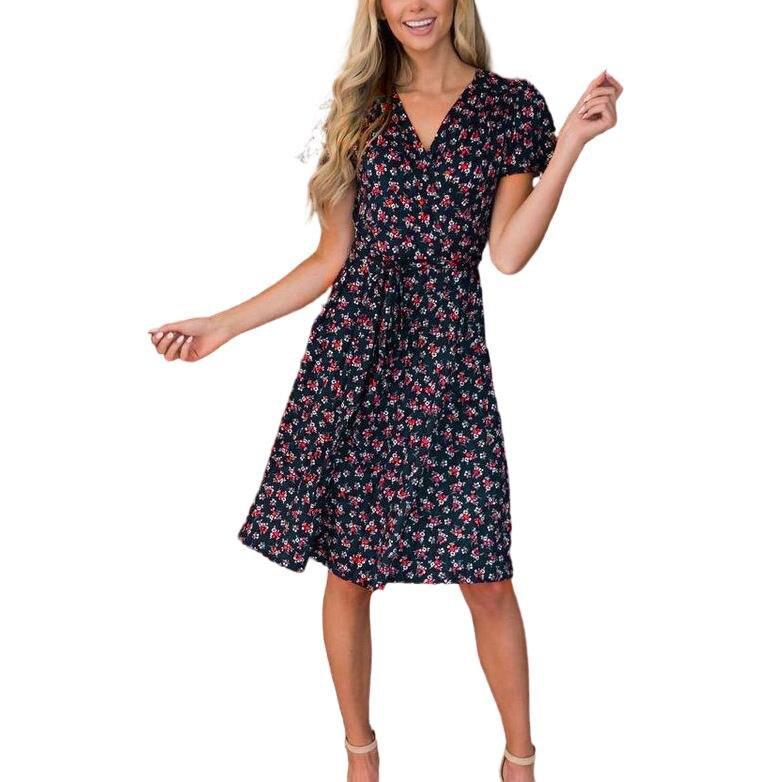 2021 Women Fashion Clothing New Women's Floral Short Sleeve V-neck Lace Up High Waist Dress Summer Dress Women Dresses Summer