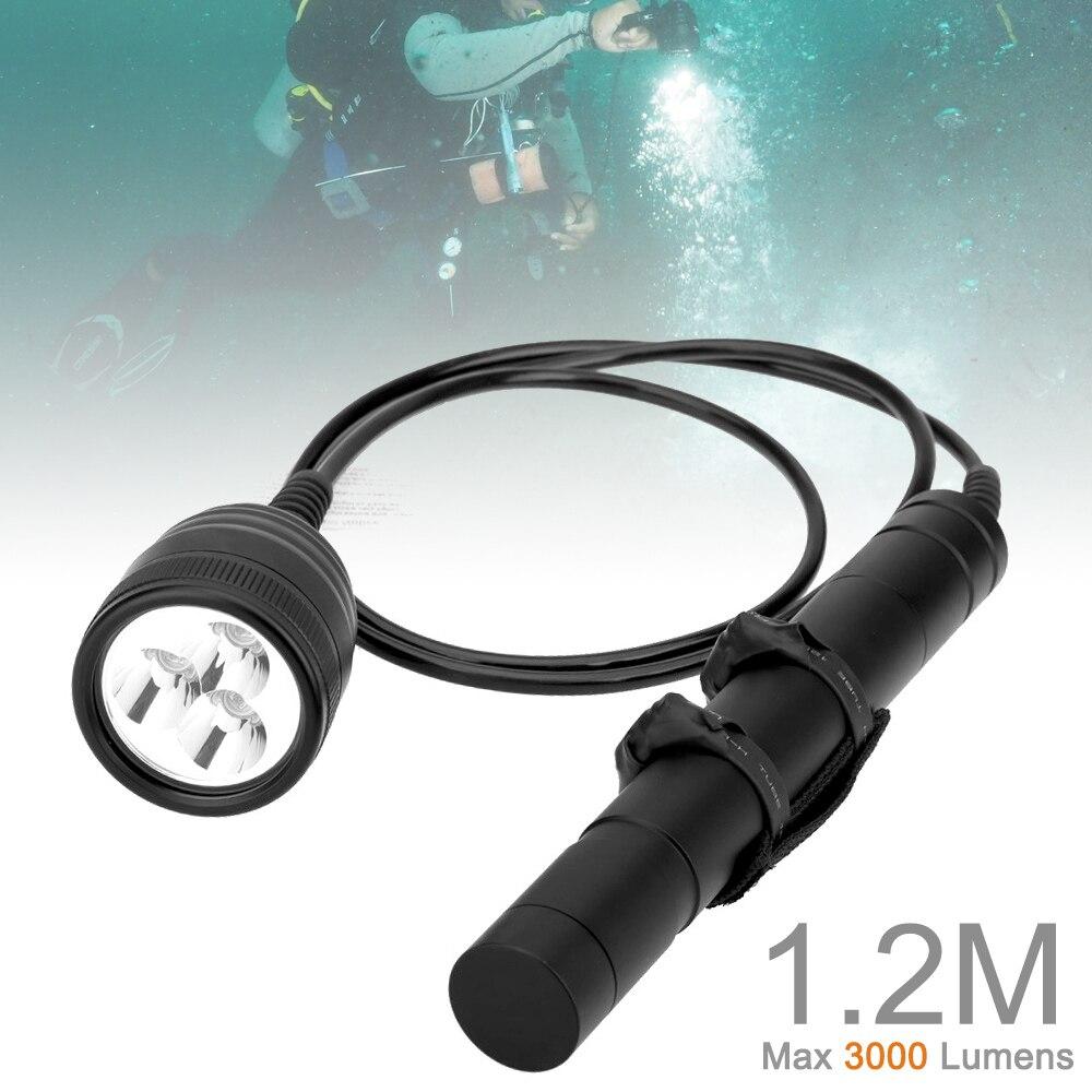 lanterna de led subaquatica de 12m 2 m de comprimento cabeca magnetica de 150m e