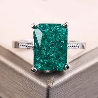 vintage bright ring with green stones square stone ring silver color for women anniversary holiday jewelry anillos mujer f5n475