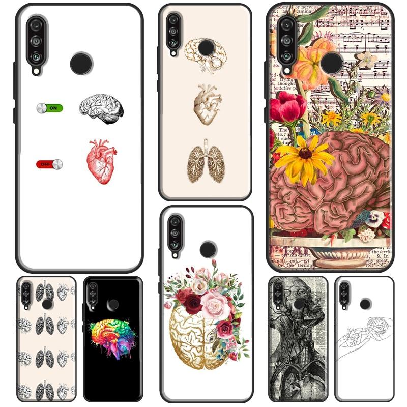 Human Organs Brain Case For Huawei P30 Lite P40 P20 Pro P Smart Z 2019 2021 Mate 20 10 Lite TPU Phon