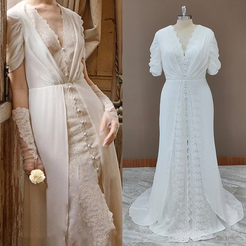 Vintage Victorian Lace Chiffon Wedding Dress Short Sleeves REAL PHOTO Custom Made Princess V Neck Covered Buttons Bridal Dress