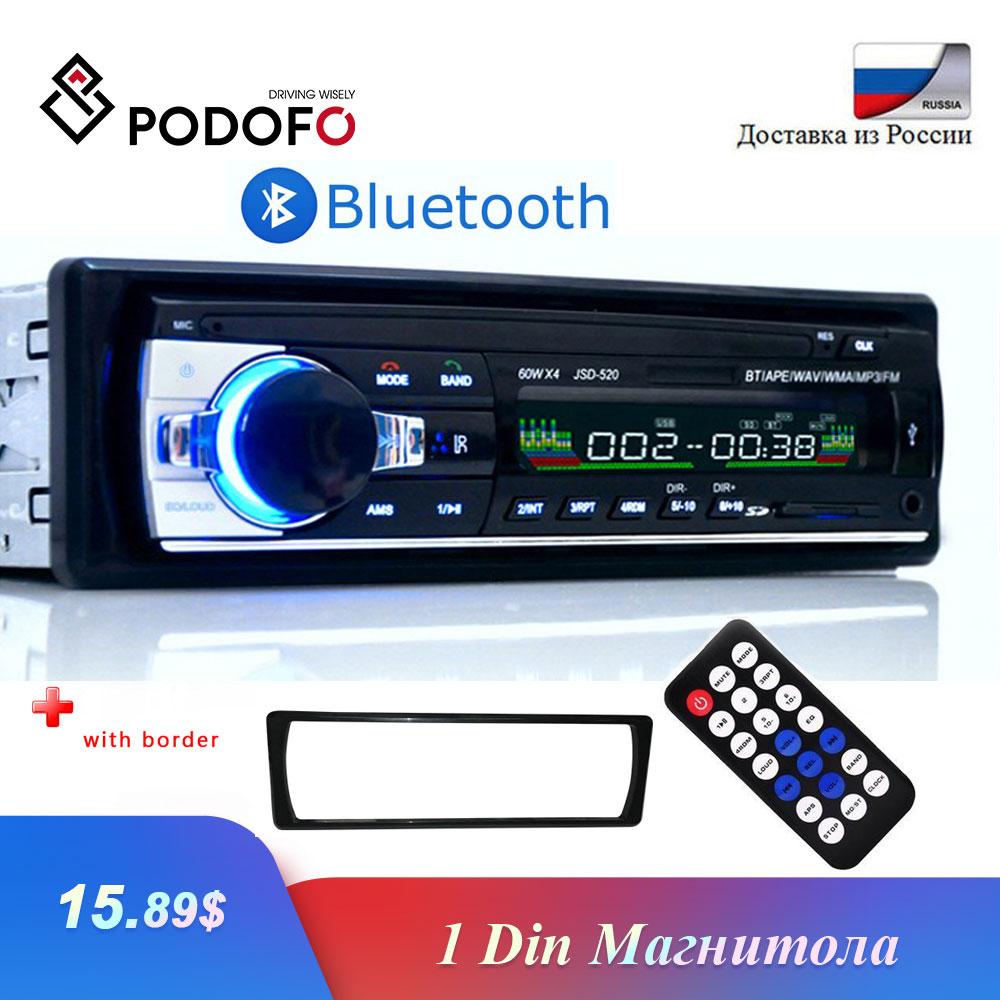 Podofo Autoradio 1 الدين بلوتوث راديو سيارة 12V JSD-520 SD AUX-IN MP3 لاعب FM USB السيارات ستيريو الصوت ستيريو في اندفاعة راديو كوشي