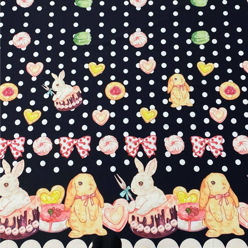 148*120cm doce coelho sobremesa impresso têxtil poliéster tecido retalhos diy fazendo vestuário vestido boneca roupas material de costura