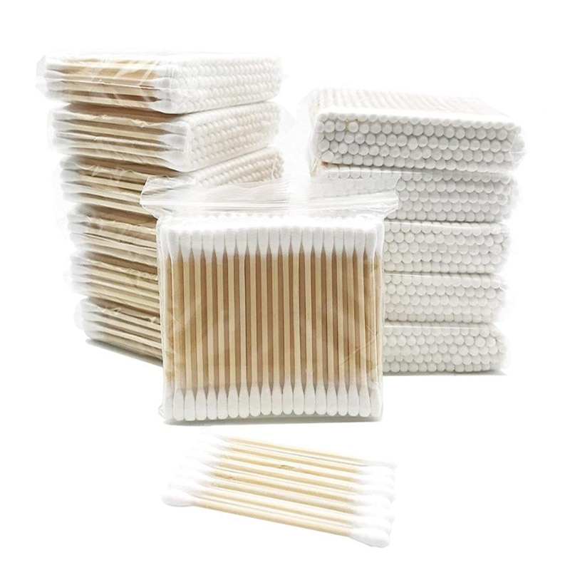 1200PCS Wooden Cotton Swabs Beauty Cosmetics Double Cotton Pad Lint Free Micro Brushes Eyelash Extension Glue Removing Tools