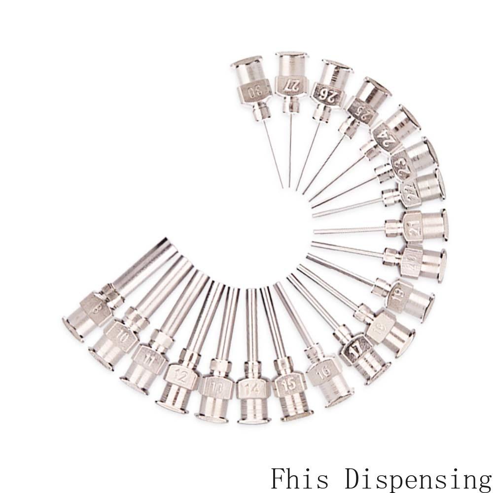 Paquete de 12 W/ISO aguja de dispensación estándar punta roma 0,5 pulgadas tubo de longitud Metal S.S 8G ~ 30G