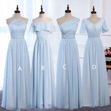 Sky Blue Women Long Dresses for Wedding Party 2020 Beach Bridesmaid Dress Pleated Maxi Dresses