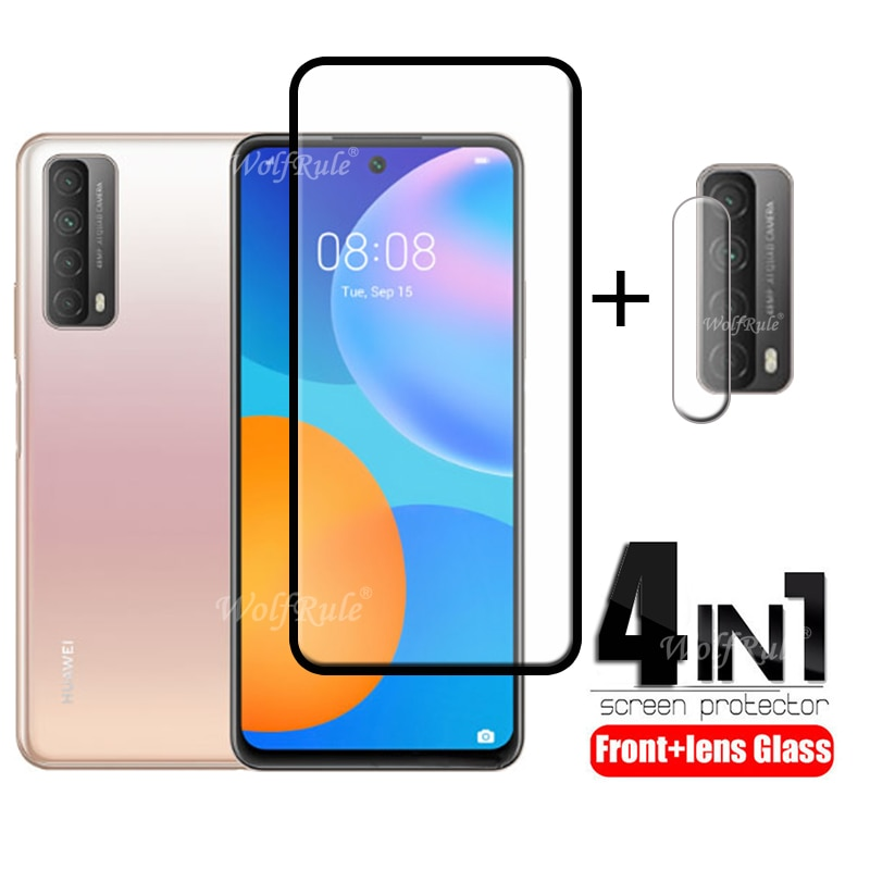 4-in-1 Huawei P Smart 2021 Y7A Glass 용 Huawei P Smart 2021 용 Full 강화 유리 Huawei Y7A P Smart 2021 Y9A 렌즈 유리 용