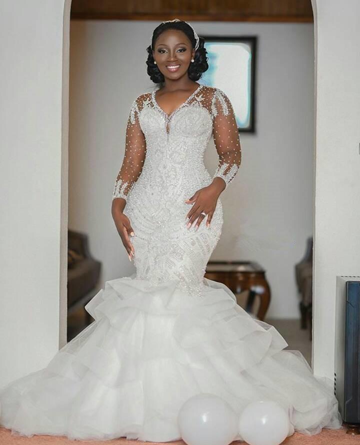 2021 أحدث حورية البحر الدانتيل فستان الزفاف مع يزين الأبيض تول المرأة قطار طويل الخامس الرقبة فساتين زفاف Vestidos De Novia