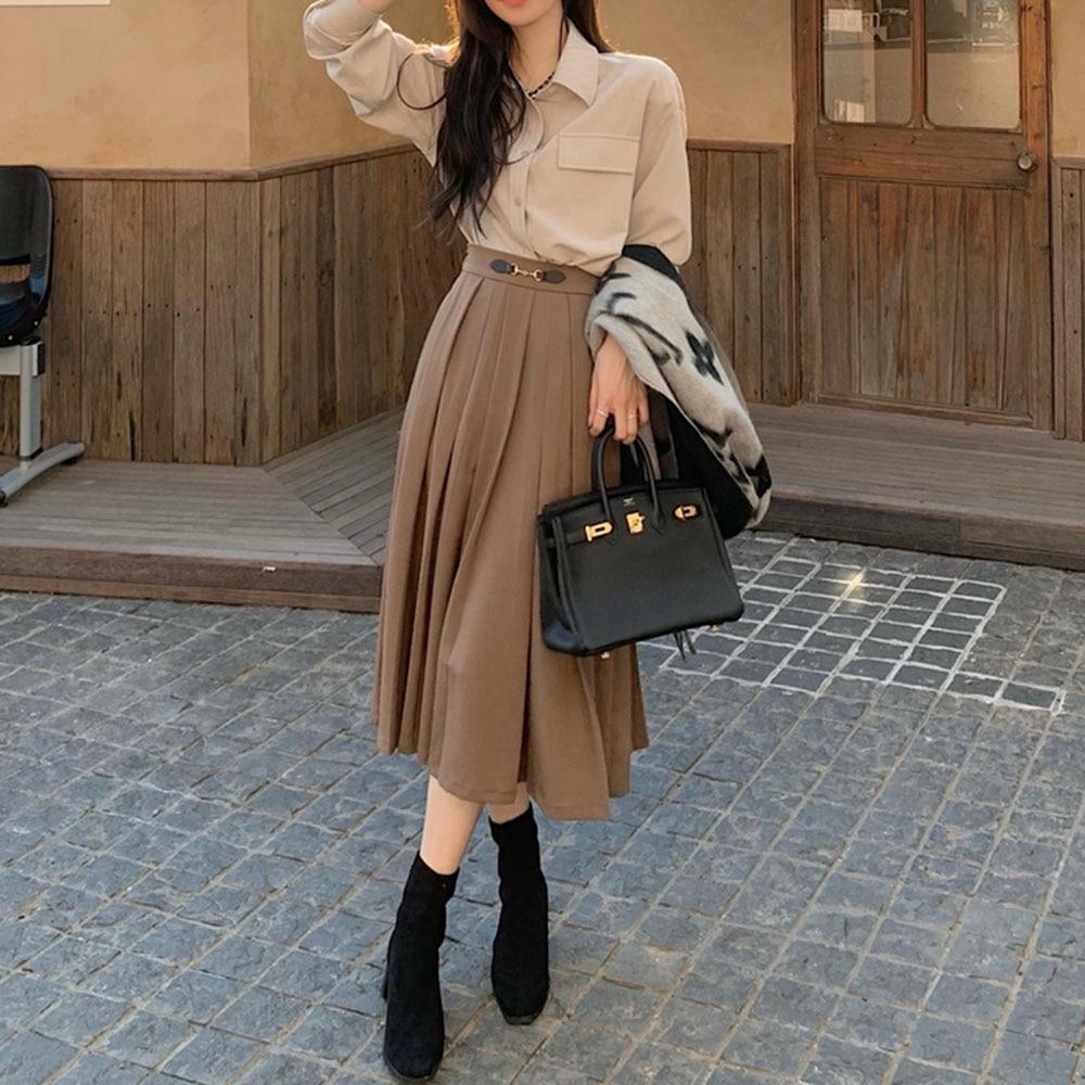 Women's High Waist Gold Buckle Pleated Half-length Skirt Female 2021 New Thin A-line Long Skirt Fash