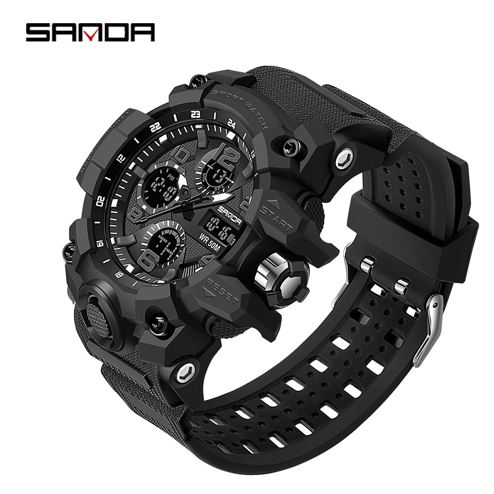 Led à Prova Sanda Luxo Esportes Relógio Masculino Analógico Digital Militar Dmulti Água Pulso Multi-função