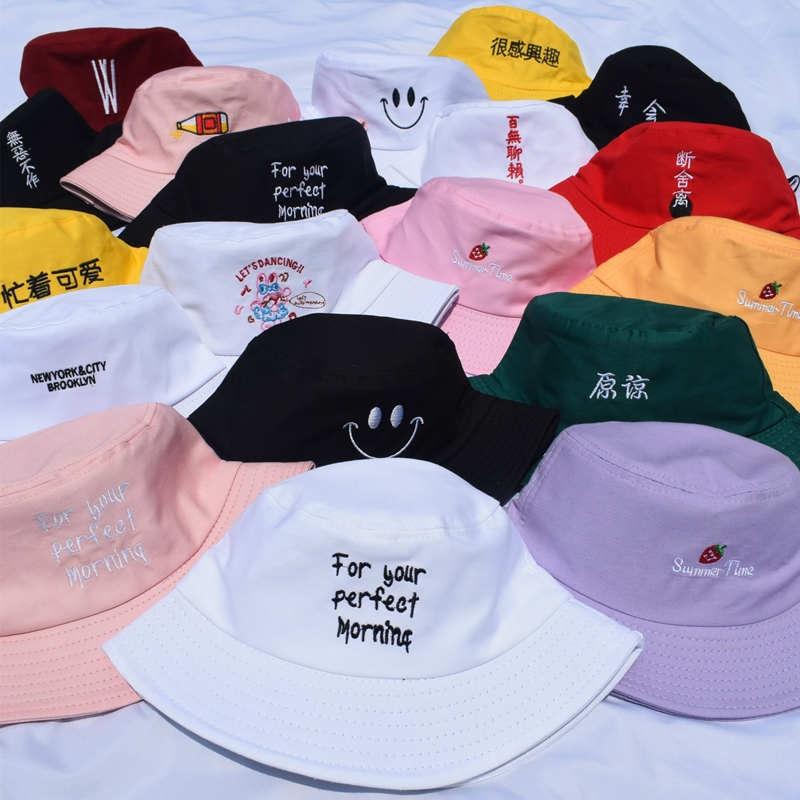 Double Side Bucket Hats for Women Fashion Cotton Smile Flower Reversible Cap Fisherman Hat Travel Bob Caps Gorro De Pescador