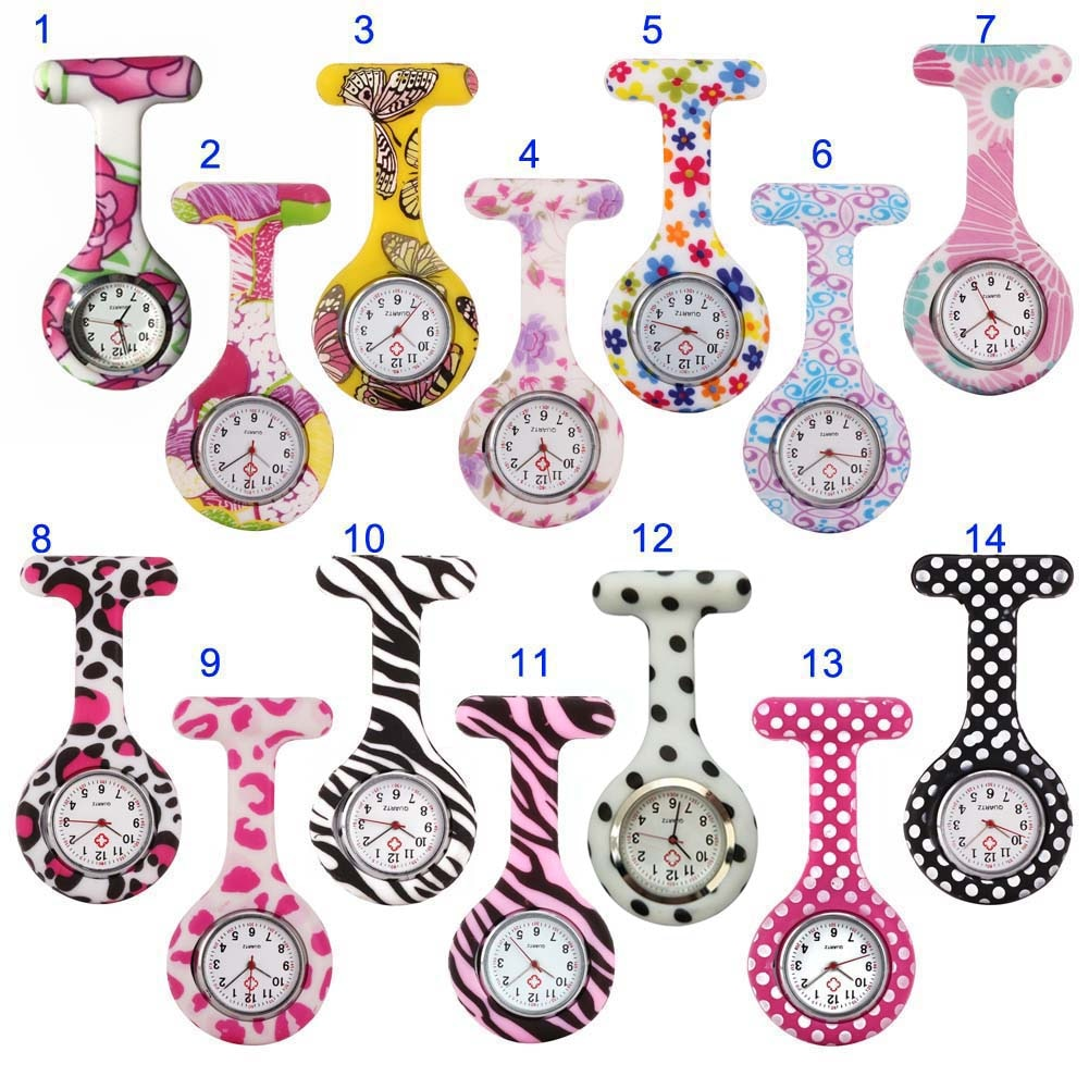 Newly Nurse Watches Printed Style Clip-on Fob Brooch Pendant Pocket Hanging Doctor Nurses Medical Qu