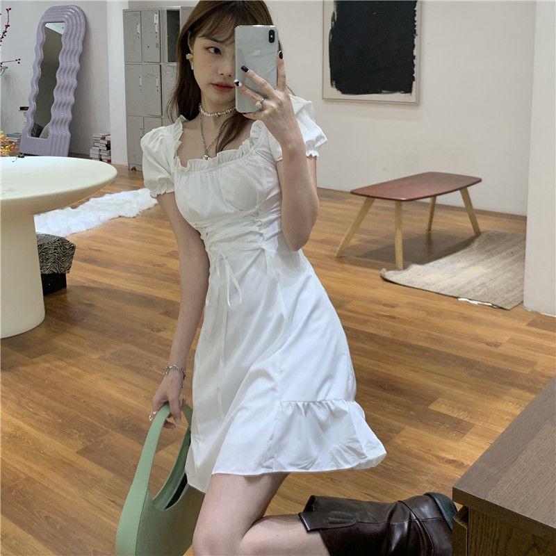 Dress Woman Short Sleeve Sweet White Bandage Puff Sleeve Square Collar Summer Dress Birthday Dress for Women Vestidos De Mujer