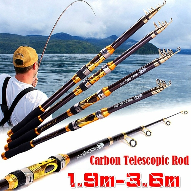 PULLINE 1,9/2,1/2,4/2,7/3,0/3,6 m 1 ud. Caña de pescar portátil de fibra de carbono, caña de pescar telescópica de viaje, caña de pescar giratoria