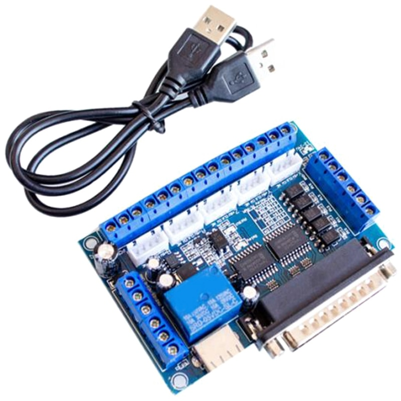 CNC 5-Axis Stepper Motor Driver Interface Board with USB Cable Optocoupler Isolation for MACH3 Engraving Machine 4 axis cnc breakout board parallel stepper motor driver module lv8727