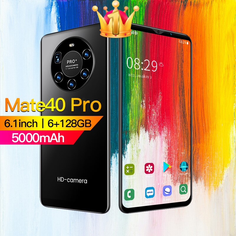 هاتف Mate40 Pro الذكي 6.1 بوصة 6 + 128G يدعم هاتف أندرويد 5000mah يدعم جوجل بلاي واي فاي 5G هاتف محمول إفتح هاتف جديد