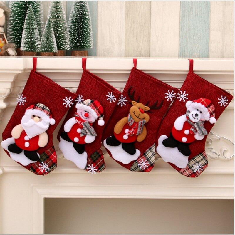 Bas de noël chaussettes Plaid père noël Elk bonhomme de neige bonbons cadeau sac arbre de noël suspendus ornement décoration fête de la maison
