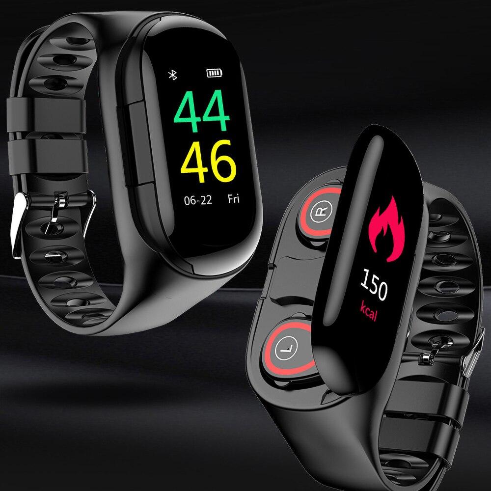 M1 Bluetooth Kopfhörer Fitness Armband Sport Uhr mit AI Smart Uhr Herz Rate Monitor Smart Armband Lange Standby-