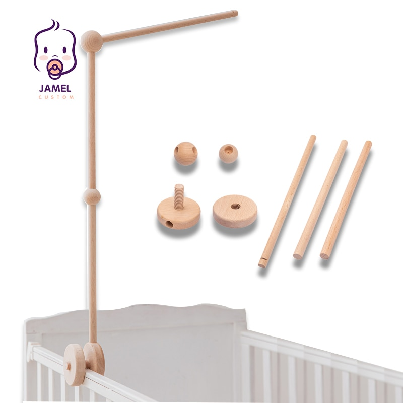 Baby Rattles Bracket Set Infant Crib Mobile Bed Bell Bracket Protection Newborn Baby Toys Beech Wood Holder Assembly Accessories